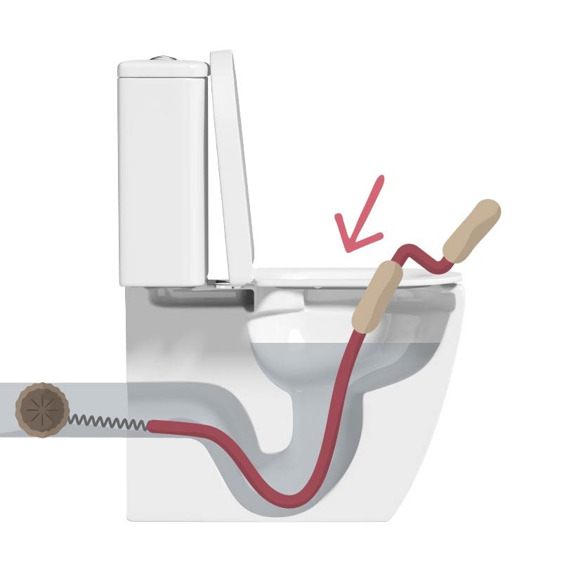 How to unblock a toilet using a plumbing snake step 1