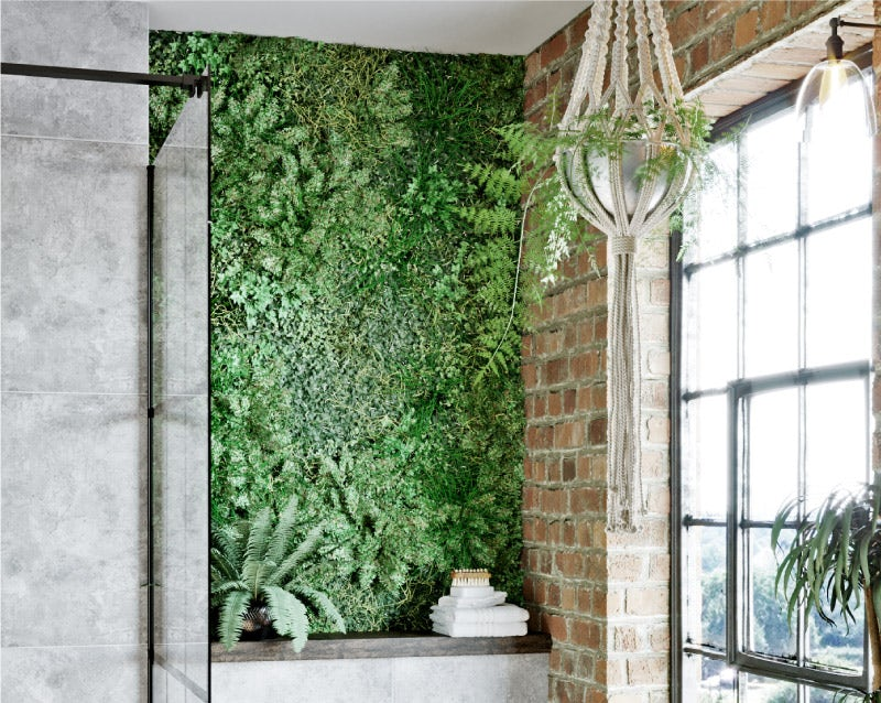 A living wall in a bathroom