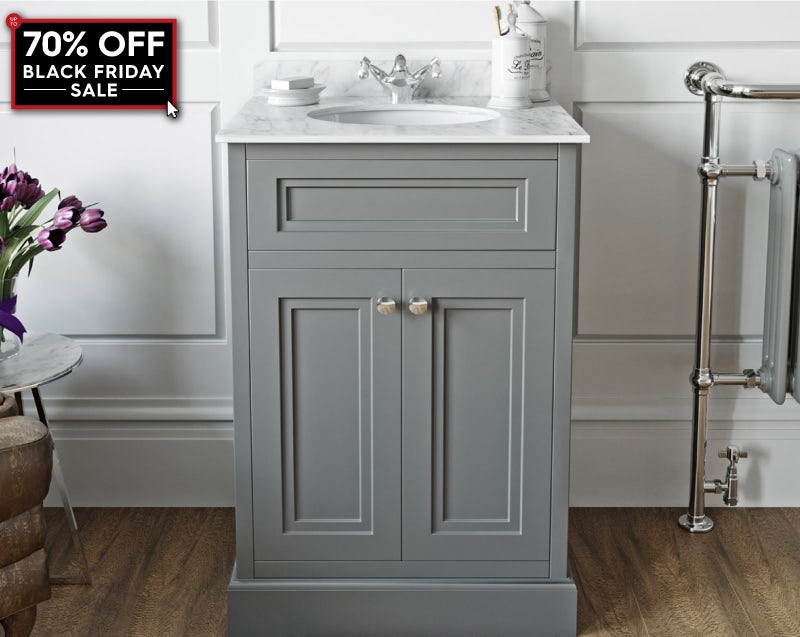 The Bath Co. Chartham slate matt grey floor standing vanity unit and white marble basin 600mm