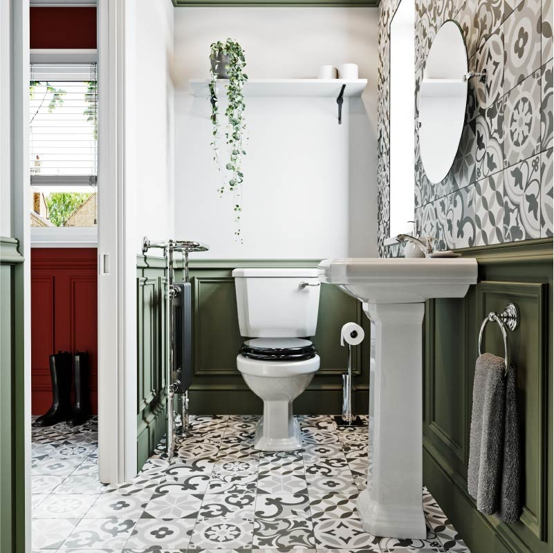 Use shelving to store toilet rolls