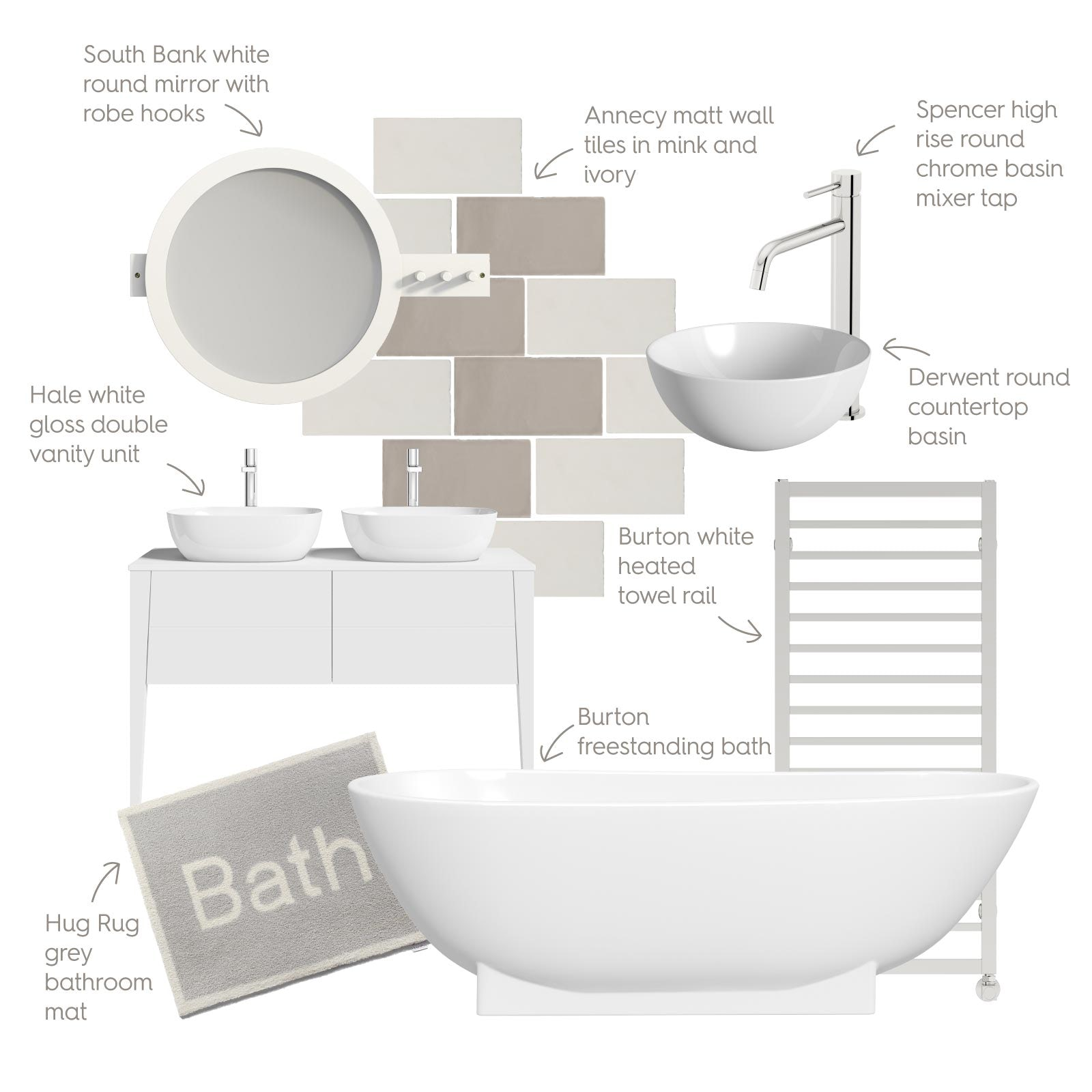 True Minimalist bathroom mood board
