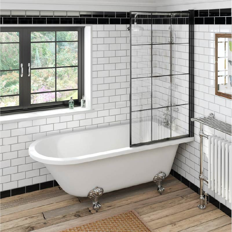 The Bath Co. Dulwich freestanding shower bath with black framed shower screen