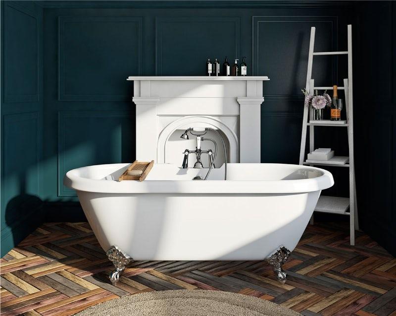 A classic roll top bath