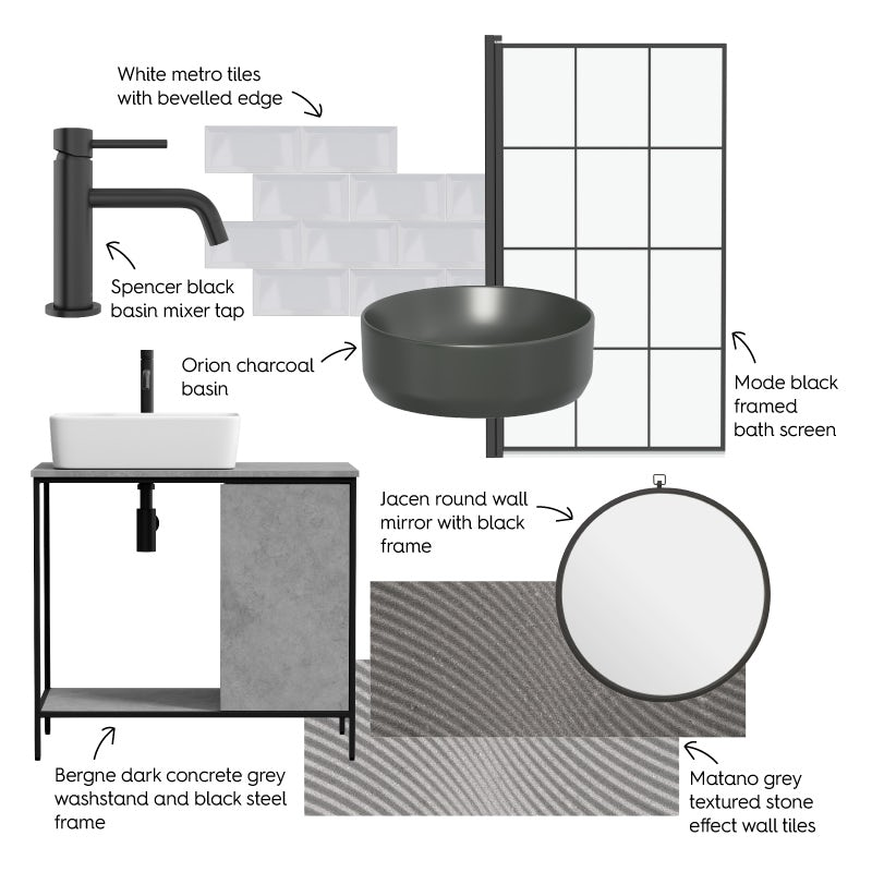 New Industrial bathroom mood board