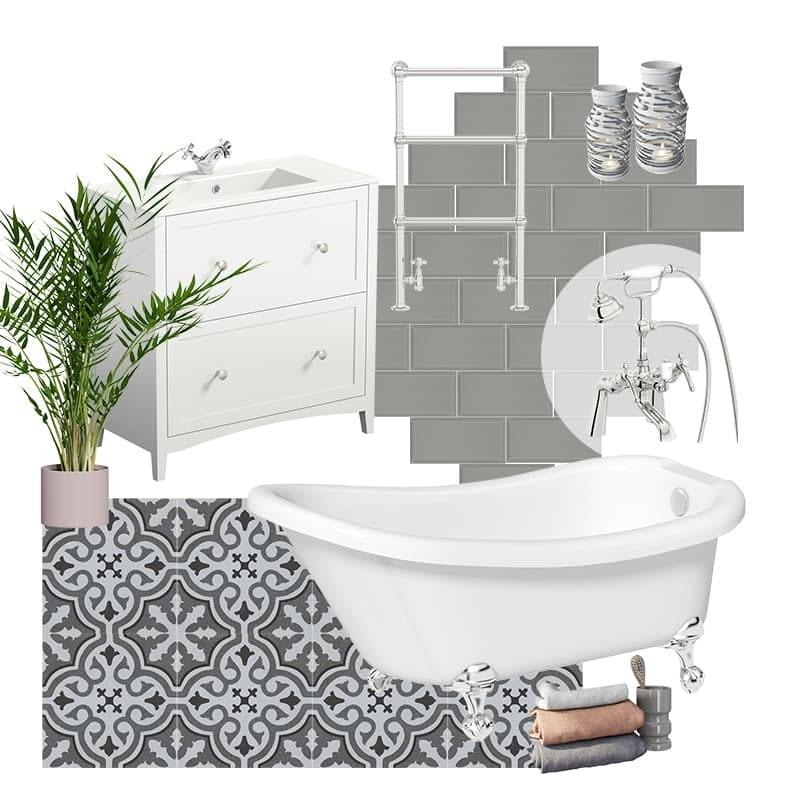 Holly's grey traditional bathroom mood board