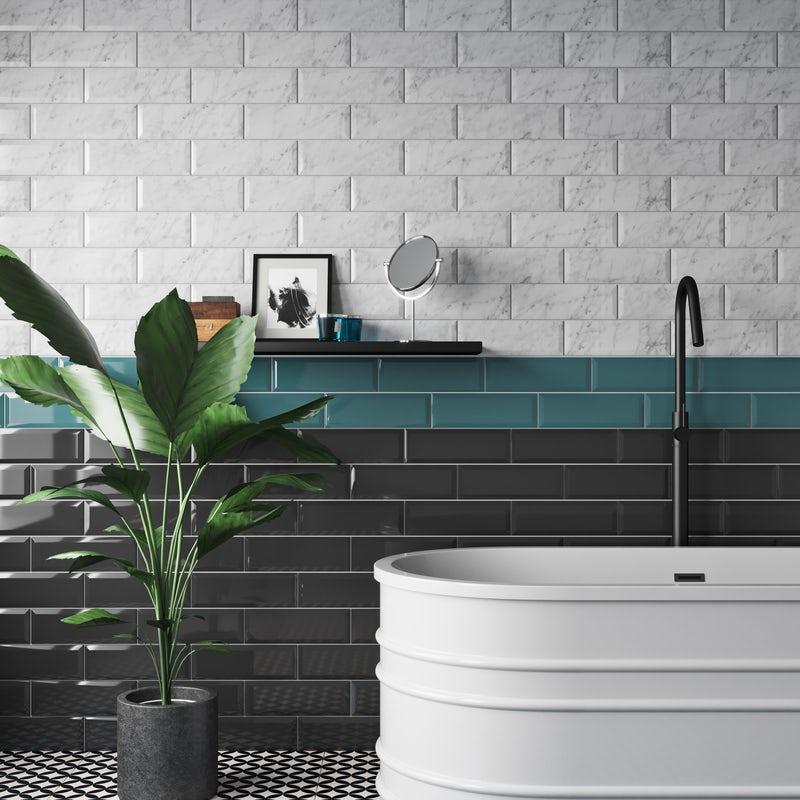 Brick bond metro tile pattern using Maxi metro tiles