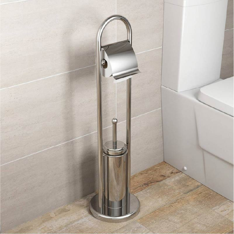 Orchard Options round freestanding stainless steel bathroom butler