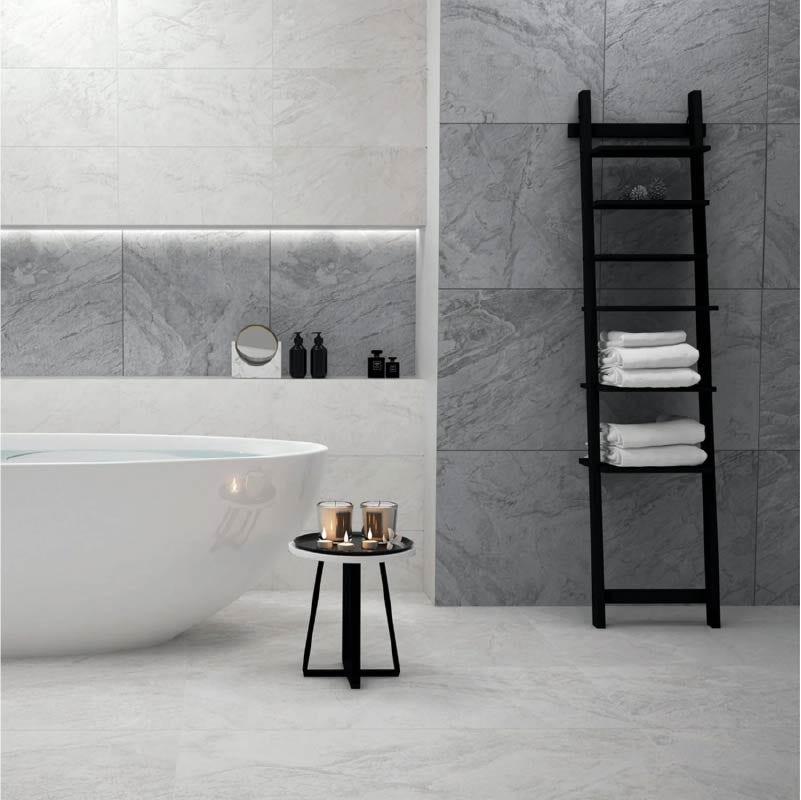 Laguna dark grey stone effect matt wall and floor tile