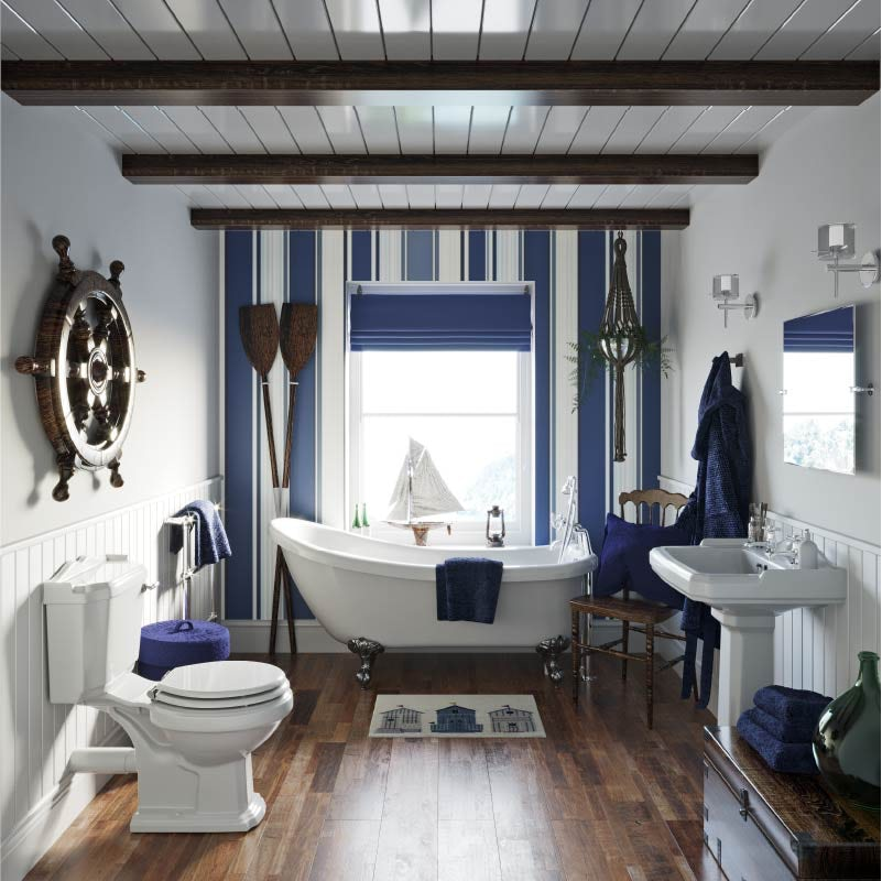 The Harbour nautical style small bathroom