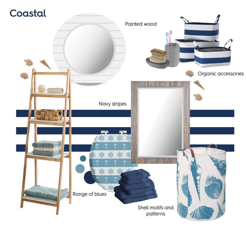 Coastal bathroom ideas mood board