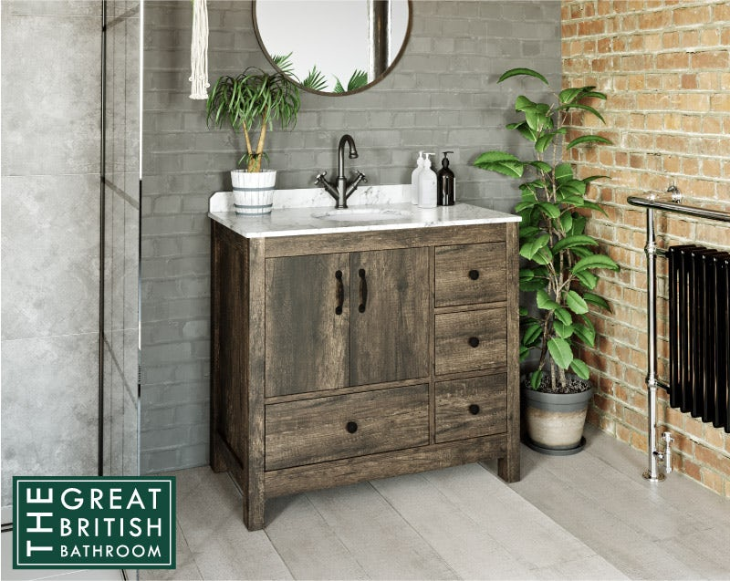 Dalston floorstanding vanity unit and white marble basin 900mm