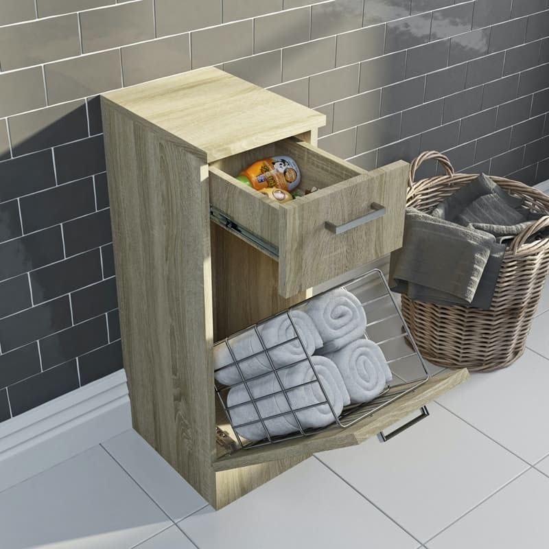 Orchard Eden oak linen basket 766 x 300mm