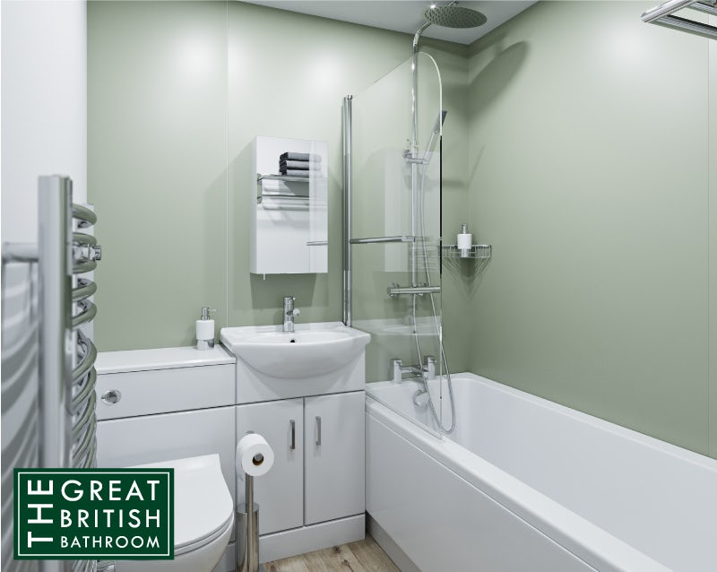 Small bathroom with a bath