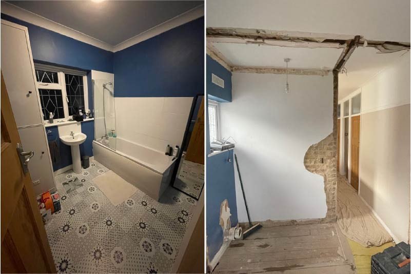 Holly's bathroom before and during renovation