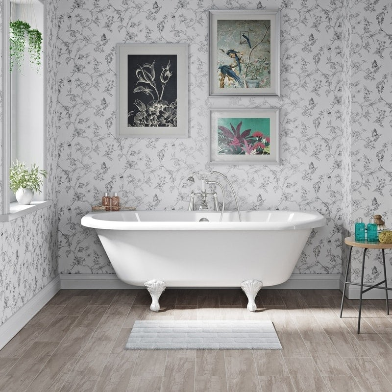 The Bath Co. Dalston back to wall freestanding bath with white ball and claw feet