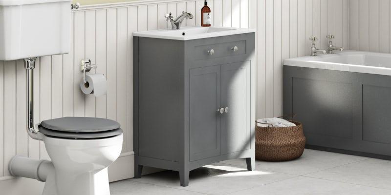 The Bath Co. Camberley satin grey floorstanding vanity unit and ceramic basin 600mm