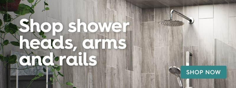 Shop shower heads, arms and rails