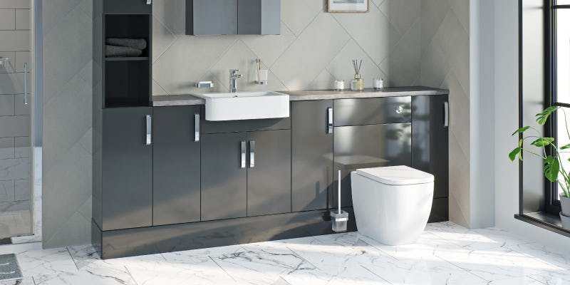 Nouvel gloss grey fitted bathroom furniture
