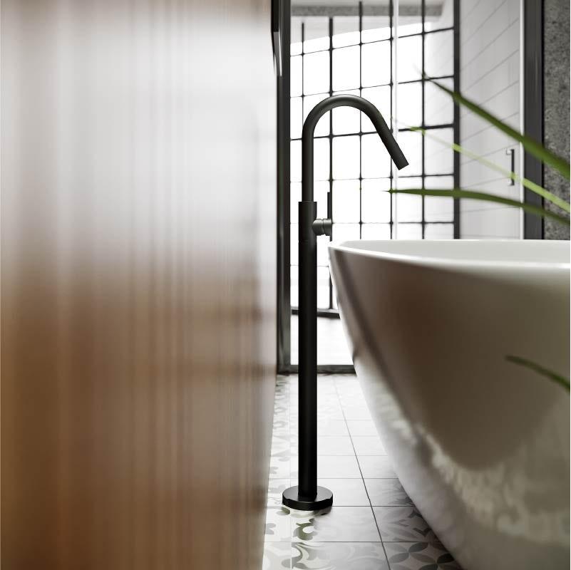 Mode Spencer round black freestanding side lever bath filler tap
