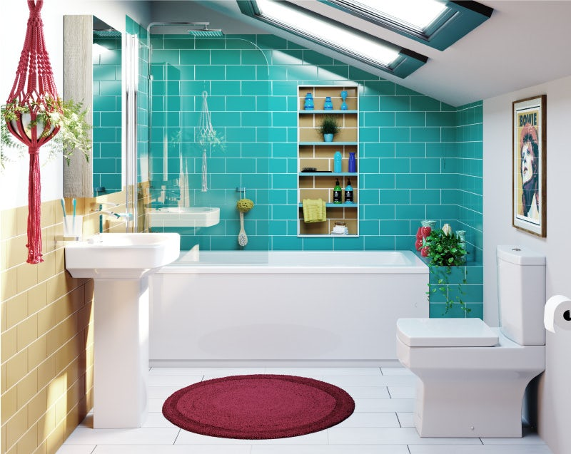 Split-complementary bathroom colour scheme