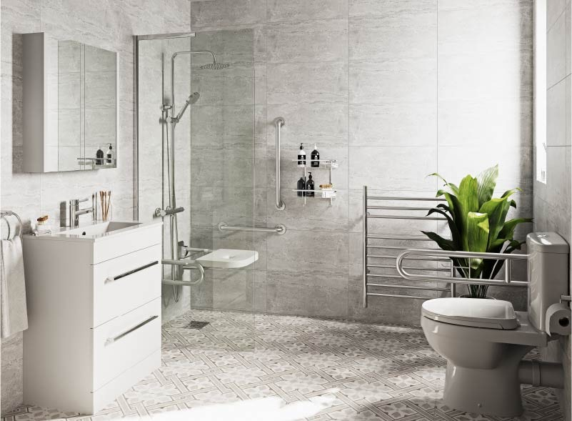 Grey accessible bathroom ideas