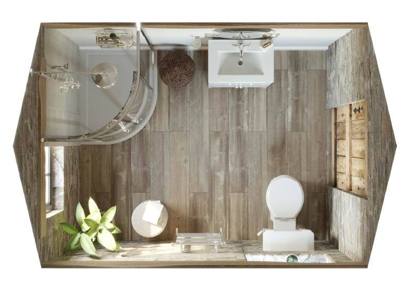 Top down view of Refined Rustic small bathroom with shower enclosure