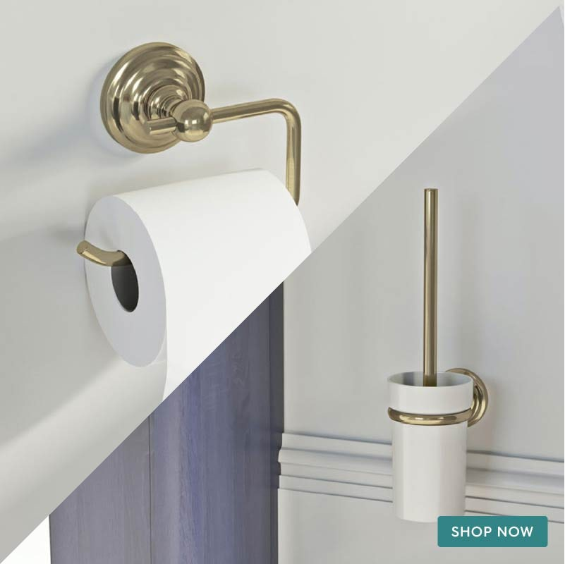The Bath Co. 1805 gold 2 piece toilet accessory pack