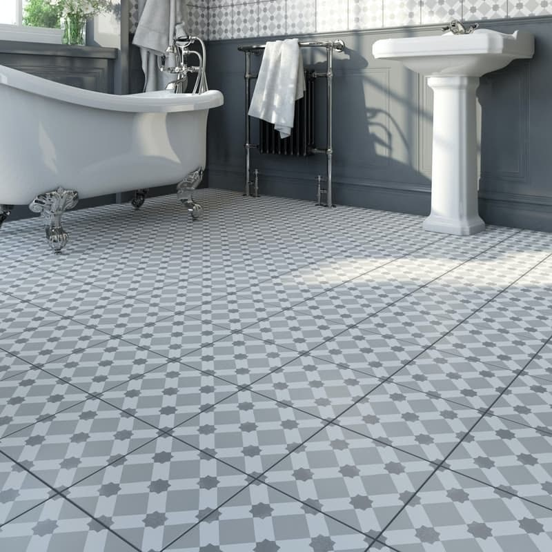 Lucena Tia traditional matt wall and floor tile 450mm x 450mm