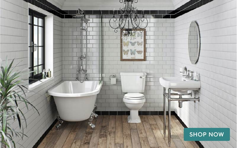 The Bath Co. Dulwich freestanding shower bath suite with white seat