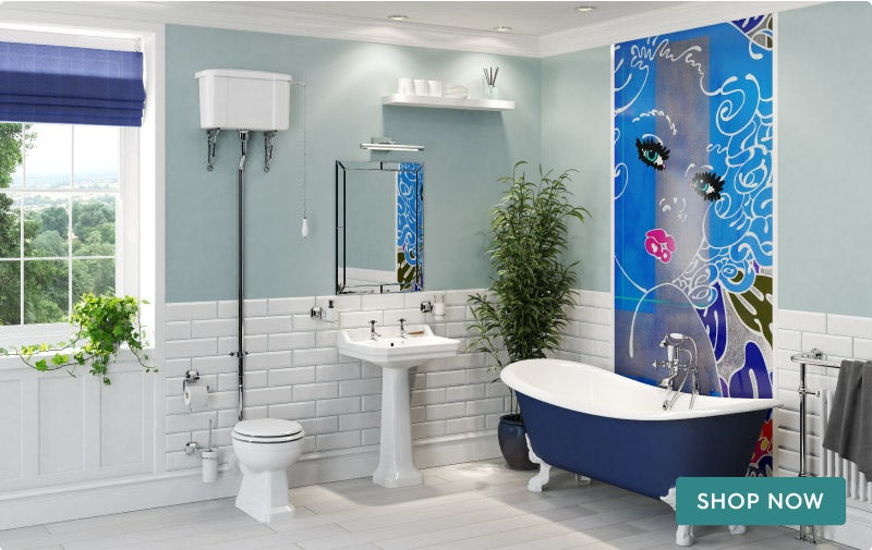 Louise Dear Coo..ee Navy Blue bathroom suite with freestanding bath