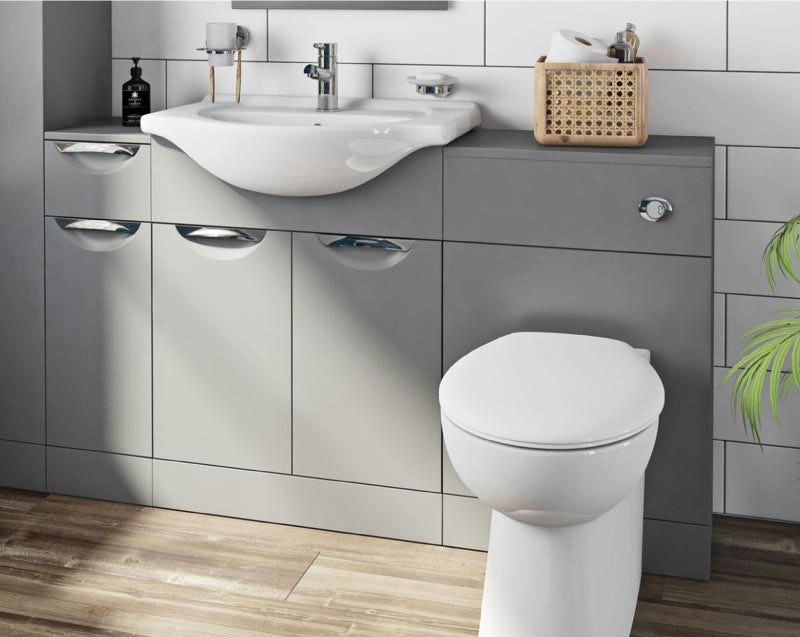 Orchard Elsdon stone grey 1155mm combination with Clarity back to wall toilet and seat