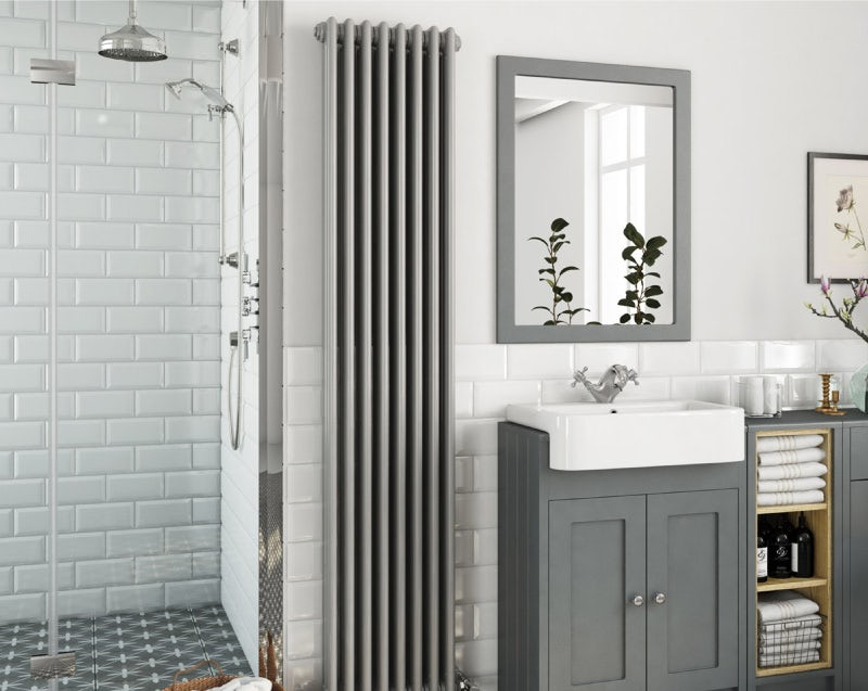 The Heating Co. Dulwich stone grey vertical triple column radiator 1800 x 380
