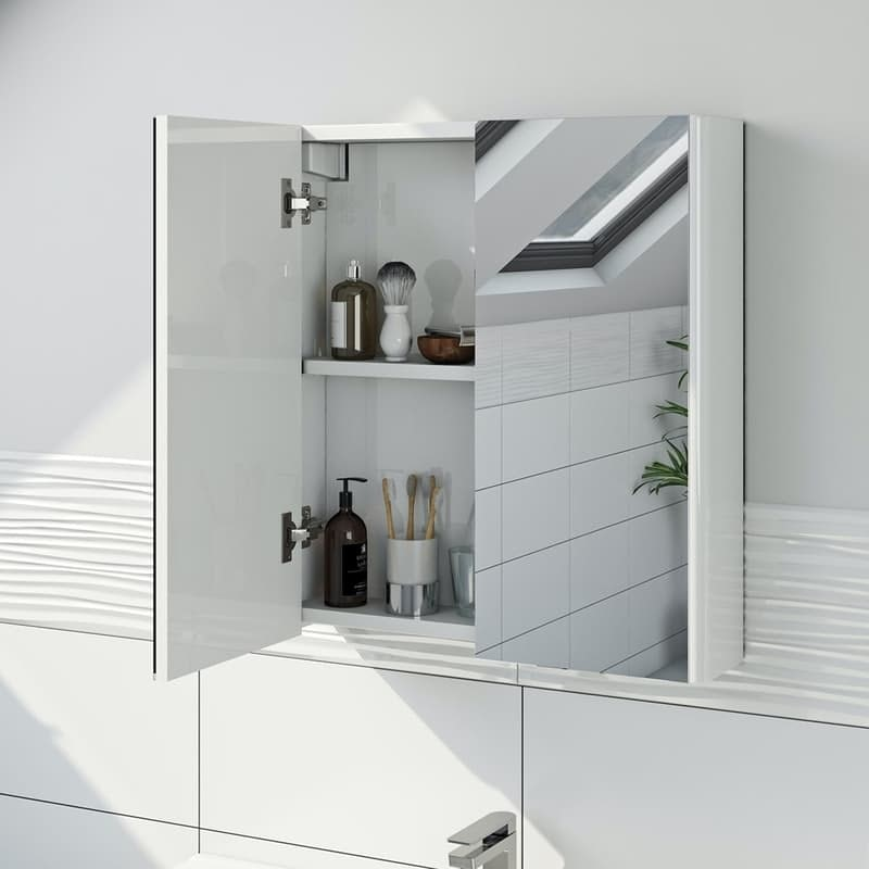 Mode white mirror cabinet 650 x 600mm
