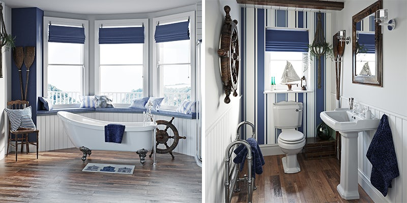 Get The Harbour Look with this nautical style blue bathroom