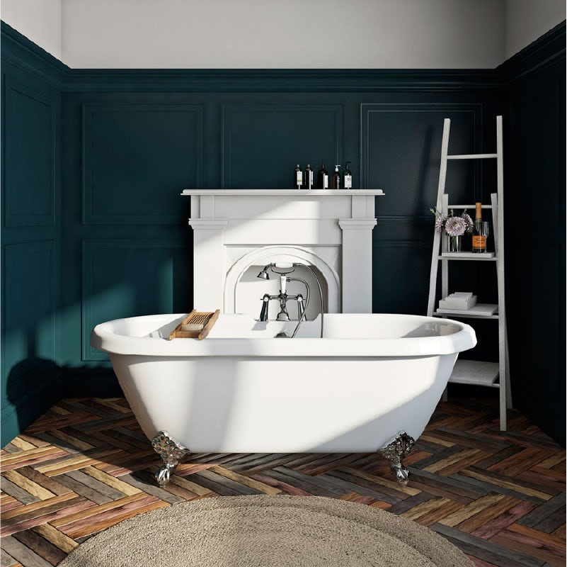 The Bath Co. Dulwich roll top freestanding bath with chrome claw feet