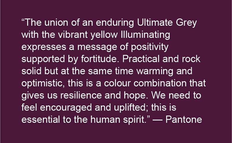 Pantone colour of the year 2021 Ultimate Grey and Illuminating