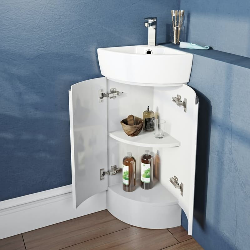 Mode Harrison white corner floorstanding vanity unit and basin 325mm