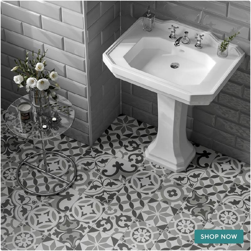 Patchwork traditional decor mix matt wall and floor tile 185mm x 185mm
