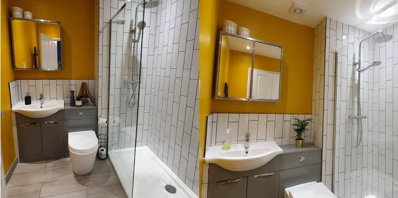 Orange and grey bathroom