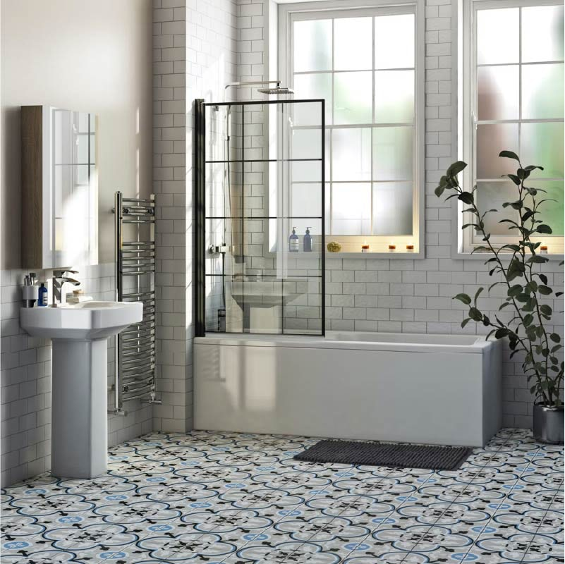 Orchard square edge straight shower bath with 8mm black framed shower screen