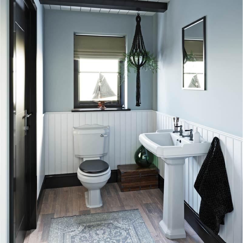 Subtle Naval Style—2021 bathroom trends