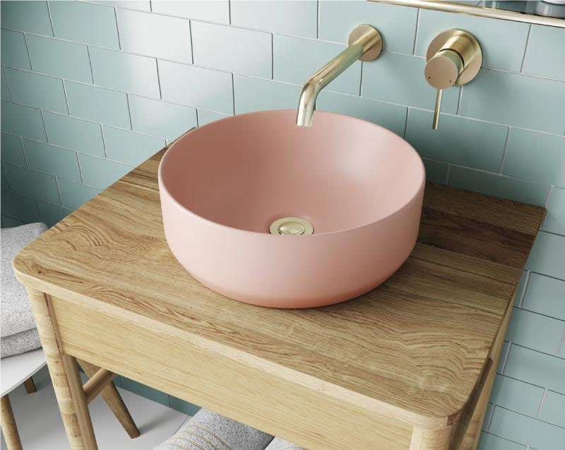 Mode Orion pink coloured countertop basin 355mm