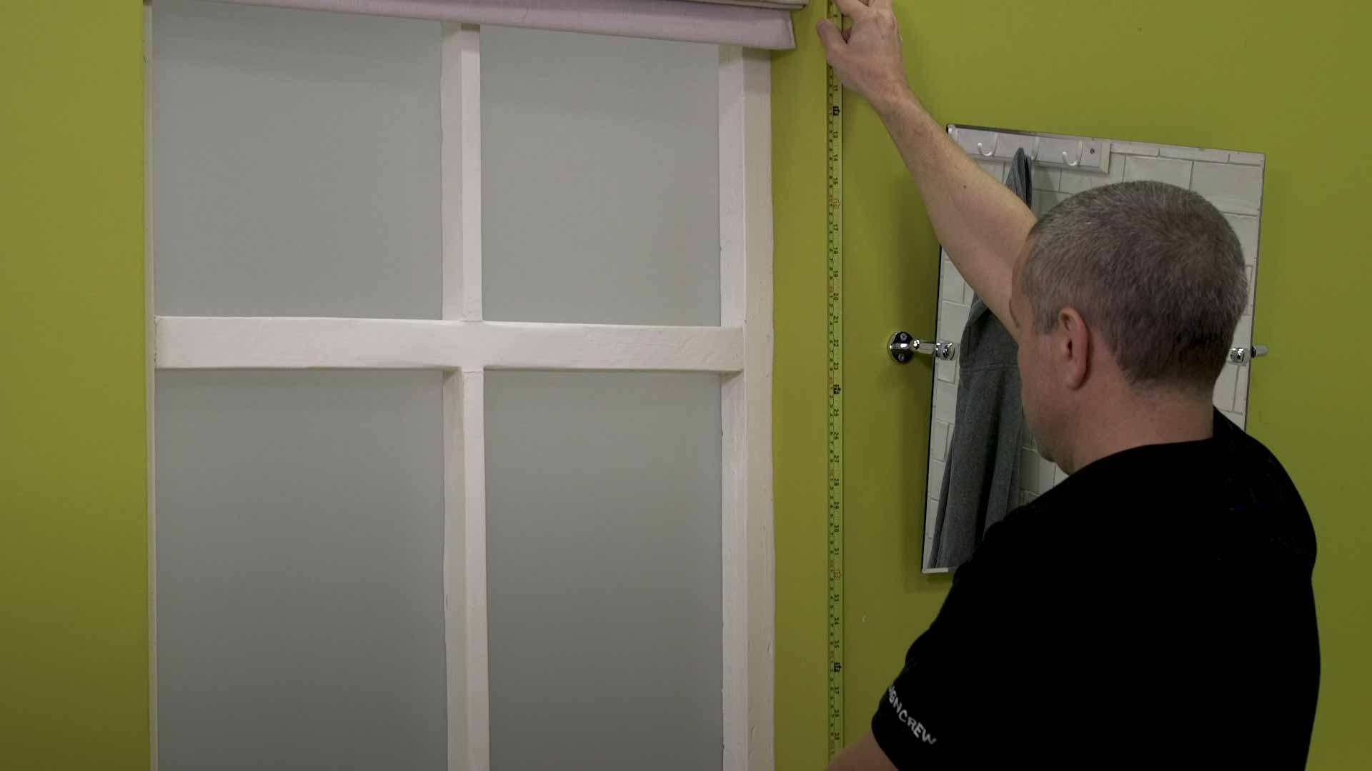 Measure windows, shelves and permanent fixtures