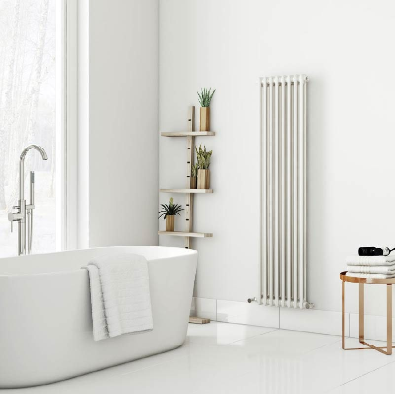 The Heating Co. Santa Fe vertical white double column radiator
