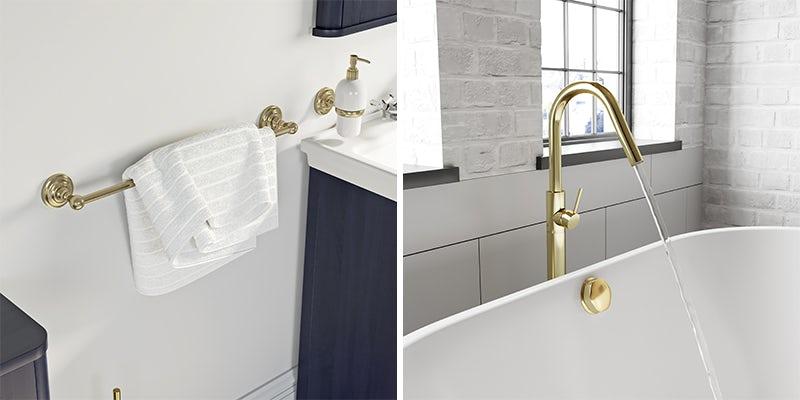 Gold bathroom accessories