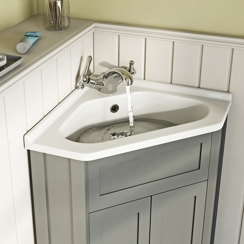 Camberley satin grey corner unit and basin 580mm
