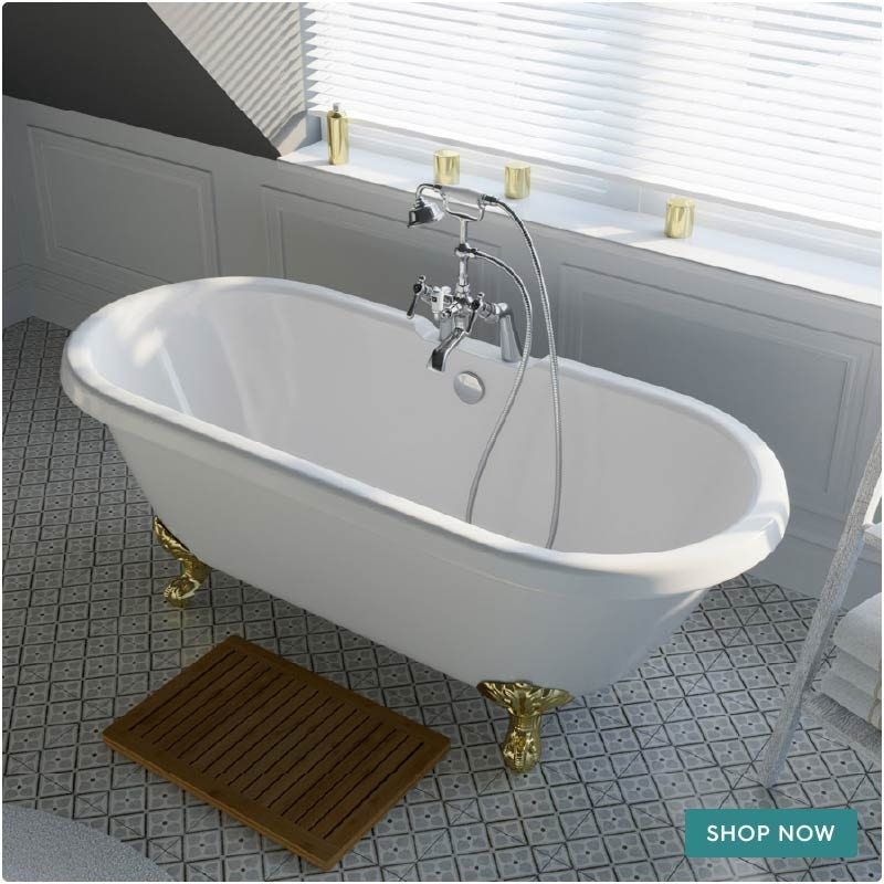 The Bath Co. Dulwich roll top freestanding bath with gold claw feet 1695 x 740