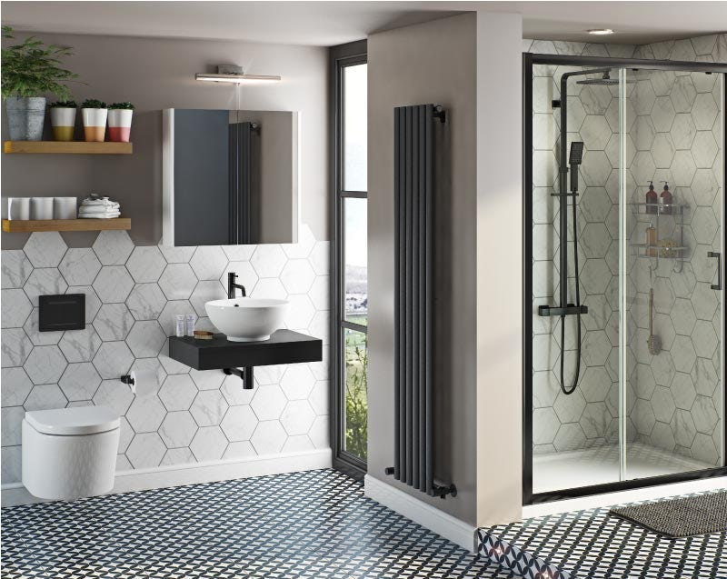 Mode Tate wall hung toilet and complete black shower door suite 1200mm