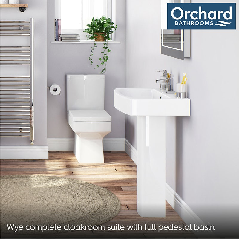 Orchard Wye complete cloakroom suite with full pedestal basin 555mm with tap and waste