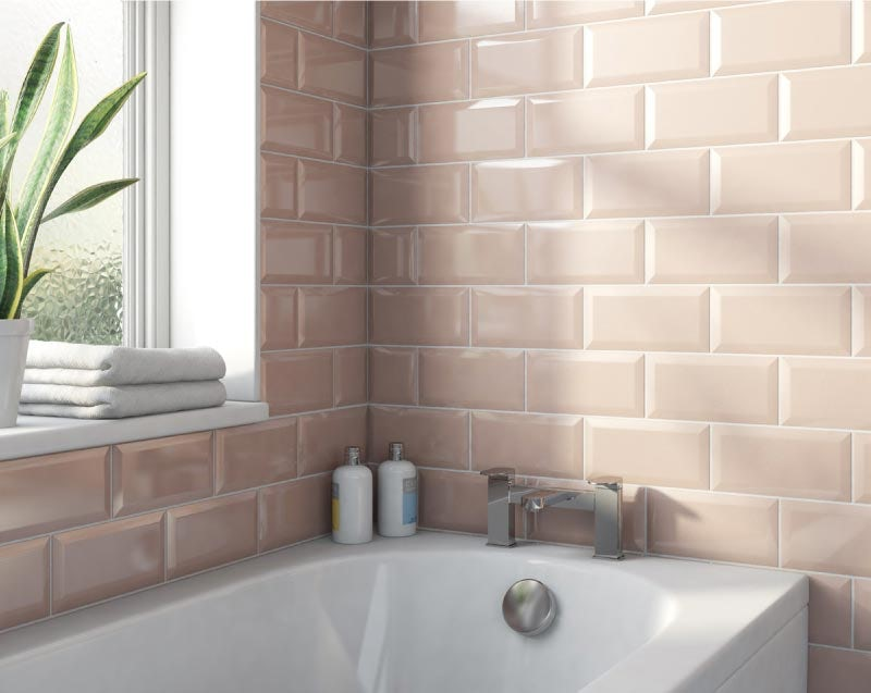 Metro subway blush pink bevelled gloss wall tile 100mm x 200mm